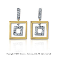 14k Two Tone Gold Geometric Diamond Drop Earrings