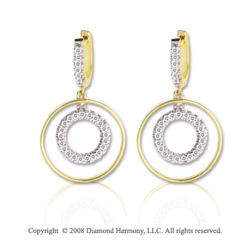 14k Two Tone Gold Double Circle 1/3 Carat Diamond Drop Earrings