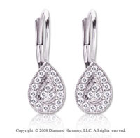 14k White Gold 1/4 Carat Diamond Tear Drop Earrings