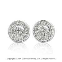 14k White Gold 1/3 Carat Diamond Stylish Round Button Earrings