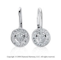 14k White Gold 1/4 Carat Diamond Stylish Round Drop Earrings