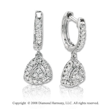 14k White Gold 1/4 Carat Diamond Shape Drop Earrings