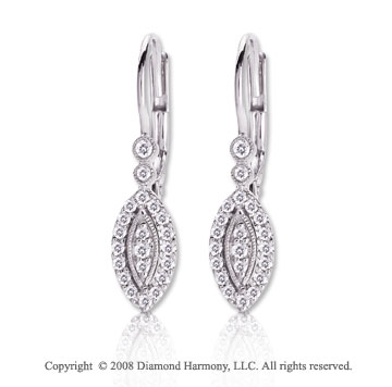 14k White Gold 1/5 Carat Diamond Marquise Shape Earrings