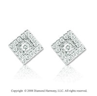 1/8 Carat Diamond 14k White Gold Diamond Shape Earrings