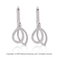 14k White Gold 1/8 Carat Diamond and Rope Drop Earrings