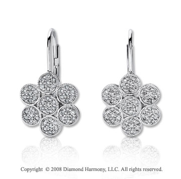 14k White Gold 1/2 Carat Diamond Flower Earrings