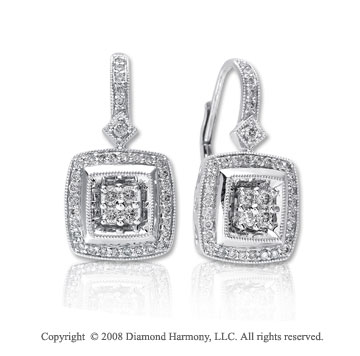 14k White Gold 2/5 Carat Diamond Square Drop Earrings