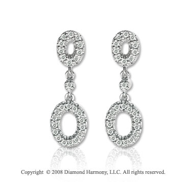 14k White Gold 1/4 Carat Diamond Oval Drop Earrings