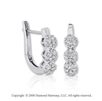 14k White Gold 1/4 Carat Diamond Flower Huggie Earrings