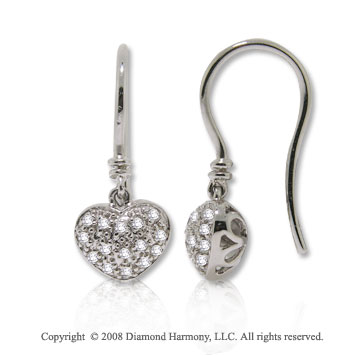 14k White Gold 1/8 Carat Diamond Heart Drop Earrings