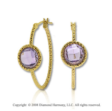 14k Yellow Gold 1 Carat Amethyst Hammered Hoop Earrings