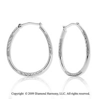 14k White Gold Carved Oval Hoop Earrings