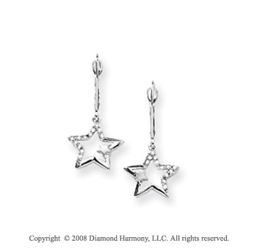14k White Gold 1/8 Carat Diamond Star Drop Earrings