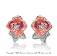 14k Two Tone Gold Diamond Rose Earrings