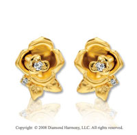 14k Yellow Gold Diamond Rose Earrings