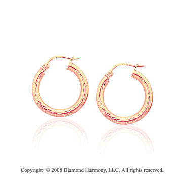 14k Rose Gold Medium Hammered Hoop Earrings