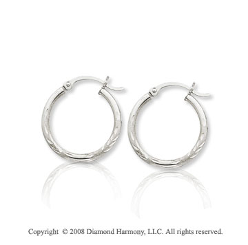 14k White Gold Medium Diamond Cut Hoop Earrings