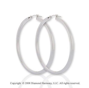 14k White Gold Large Hoop Earrings