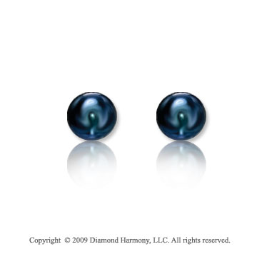 14k Yellow Gold Black Pearl Stud Earrings