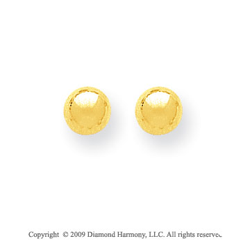 14k Yellow Gold 6mm Ball Stud Earrings