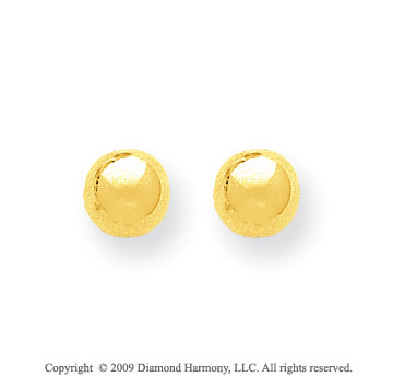 14k Yellow Gold 7mm Ball Stud Earrings