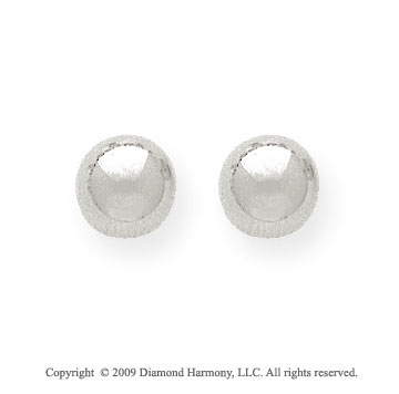 14k White Gold 8mm Ball Stud Earrings