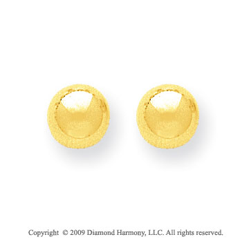 14k Yellow Gold 8mm Ball Stud Earrings