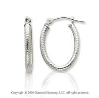 14k White Gold Diamond Cut Oval Hoop Earrings
