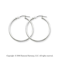 14k White Gold 1 Inch Diamond Cut Hoop Earrings