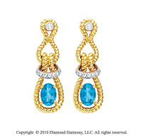 14k Two Tone Gold 1/10 Carat Diamond and 1 Carat Blue Topaz Drop Earrings