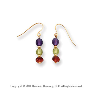 14k Yellow Gold Amethyst, Peridot and Garnet Beaded Drop Earrings