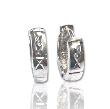 Sterling Silver Carved Petite Huggie Earrings