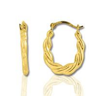 10k Yellow Gold Twisted Oval Hoop Earrings
