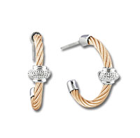 Rose Stainless Steel Diamond Rondelle Earrings