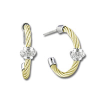 Yellow Stainless Steel Diamond Rondelle Earrings