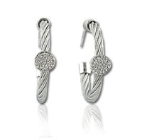 Stainless Steel Diamond Disk Earrings