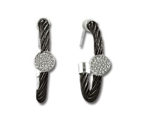 Black Stainless Steel Diamond Disk Earrings