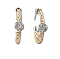 Rose Stainless Steel Diamond Disk Earrings