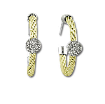 Yellow Stainless Steel Diamond Disk Earrings