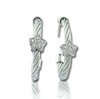Stainless Steel Diamond Star Earrings