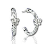 Stainless Steel Diamond Butterfly Earrings