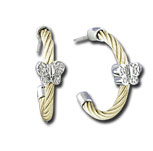 Yellow Stainless Steel Diamond Butterfly Earrings