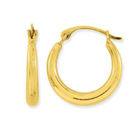 10k Yellow Gold Petite Round Polished Hoop Earrings