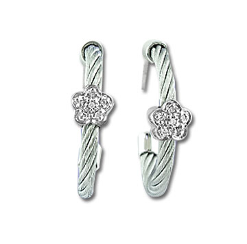 Stainless Steel Diamond Flower Earrings