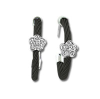 Black Stainless Steel Diamond Flower Earrings