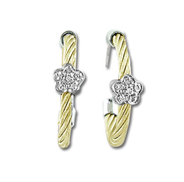 Yellow Stainless Steel Diamond Flower Earrings