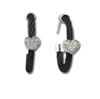 Black Stainless Steel Diamond Heart Earrings