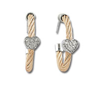 Rose Stainless Steel Diamond Heart Earrings