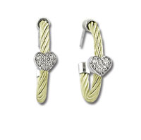Yellow Stainless Steel Diamond Heart Earrings