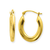 10k Yellow Gold Oval Swirl Hoop Earrings